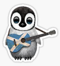 Baby Penguin Playing Scottish Flag Guitar Sticker