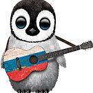 Baby-Pinguin, der russische Flaggen-Gitarre spielt von jeff bartels