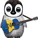 Baby Penguin Playing Barbados Flag Guitar von jeff bartels