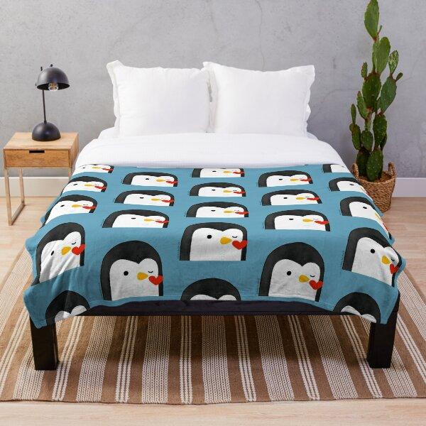 Penguin Kiss Emoji Throw Blanket