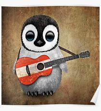Baby Penguin Playing Austrian Flag Guitar Poster