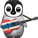 Baby Penguin Playing Thai Flag Guitar von jeff bartels