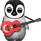 Baby-Pinguin, der türkische Flaggen-Gitarre spielt von jeff bartels