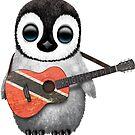 Baby-Pinguin, der Trinidad und Tobago-Flaggen-Gitarre spielt von jeff bartels