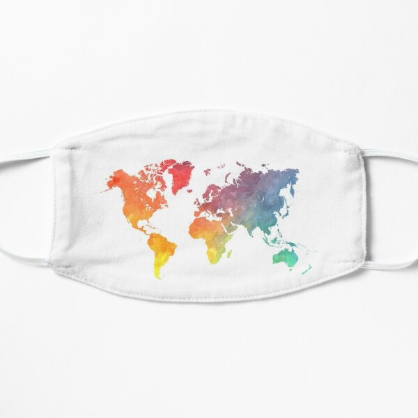 Map of the world colored Flat Mask