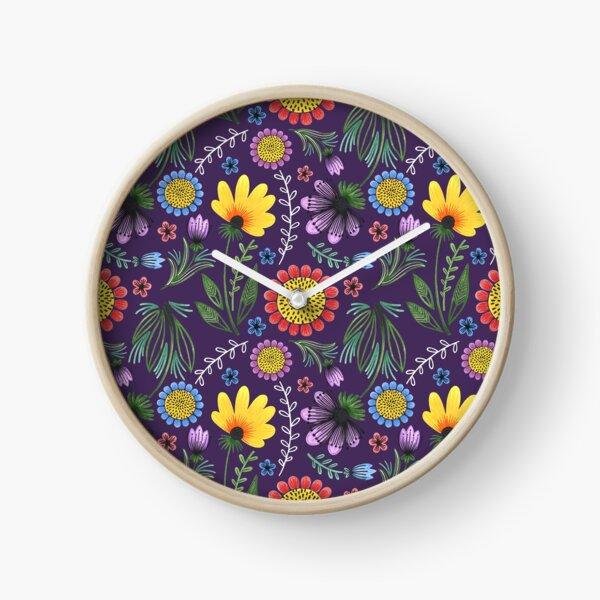 Folksy Flowers (Purple) Clock