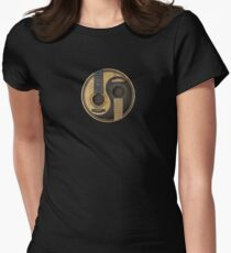 Old and Worn Acoustic Guitars Yin Yang Women's Fitted T-Shirt
