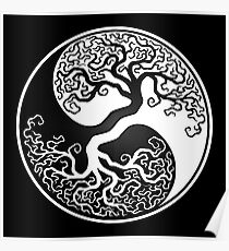 White and Black Tree of Life Yin Yang Poster