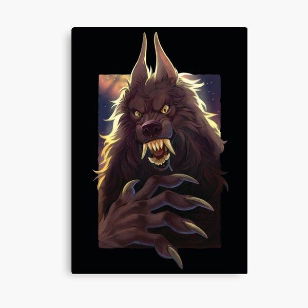 Black Werewolf - Dark Background Canvas Print