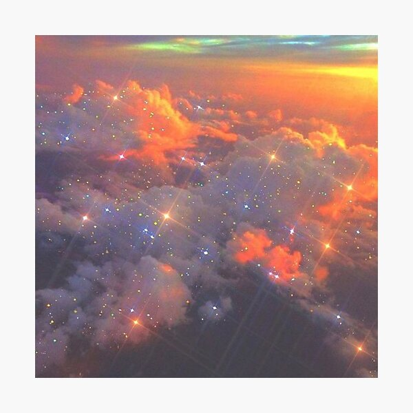 aesthetic glittery sparkly clouds Photographic Print
