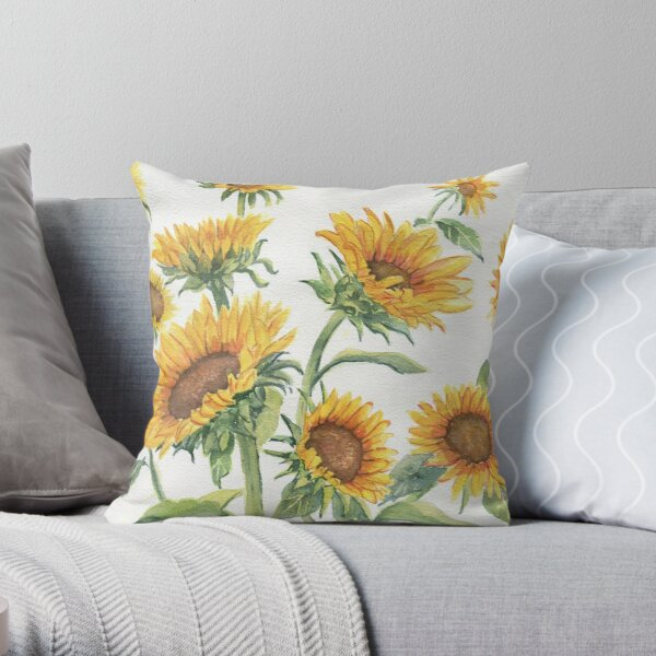 Blooming Sunflowers Throw Pillow
