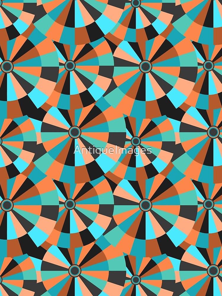 Futurist Circles Aqua and Orange Fantasy by AntiqueImages