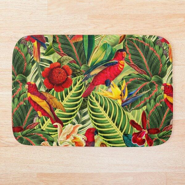 Vintage Tropical Bird Jungle Garden Bath Mat