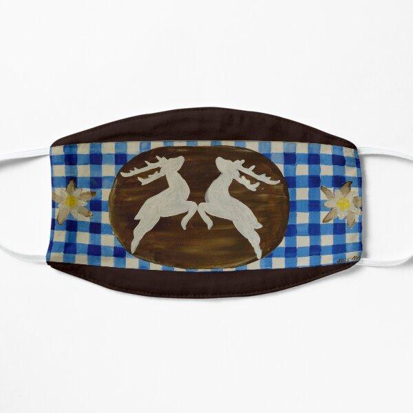 Oktoberfest - green with gentian on blue white checks Flat Mask