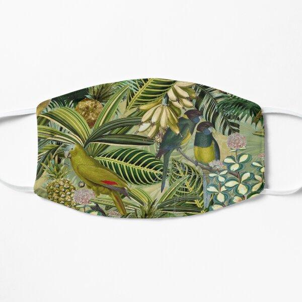 Vintage Green Tropical Bird Jungle Garden Flat Mask