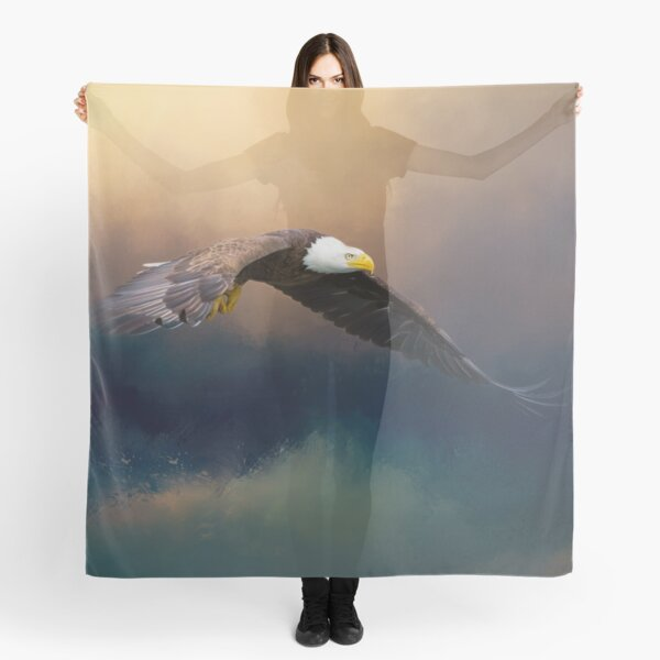 Painting flying american bald eagle Scarf