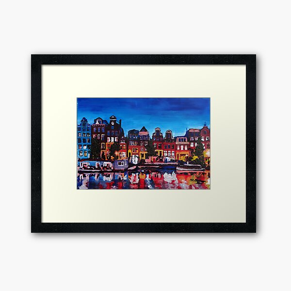 Amsterdam Skyline With Canal At Night Framed Art Print
