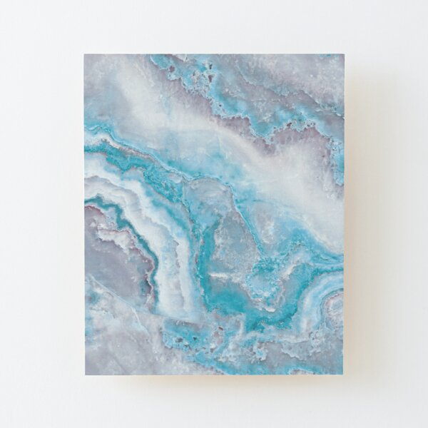 Luxury Mermaid Blue Agate Marble Geode Gem Wood Mounted Print