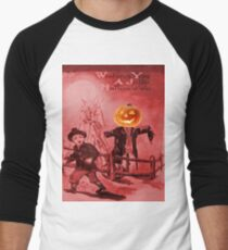 The Scarecrow (Vintage Halloween Card) Men's Baseball ¾ T-Shirt