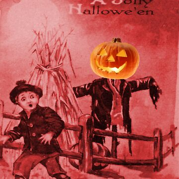 The Scarecrow (Vintage Halloween Card) by jibbsmerch