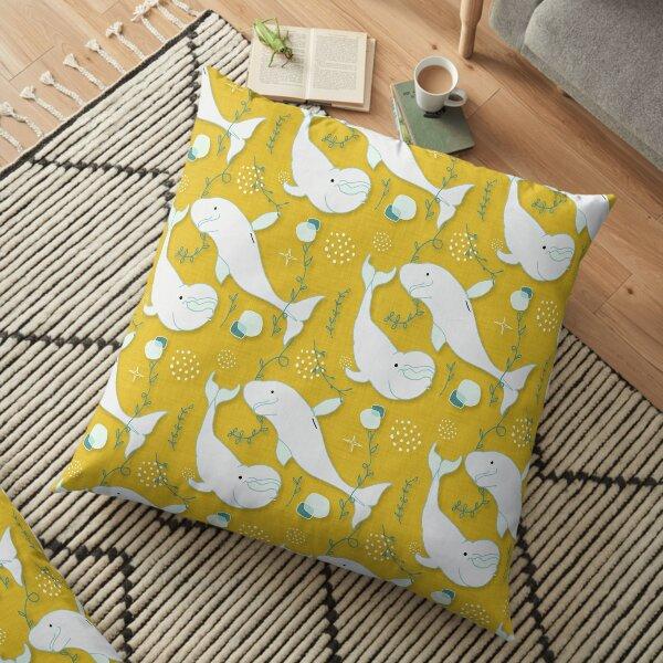Beluga Whale Mustard #homedecor Floor Pillow
