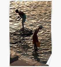 Collecting Water from the Ganges Poster