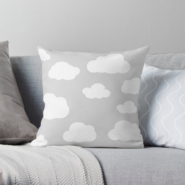 Little Grey Clouds Throw Pillow