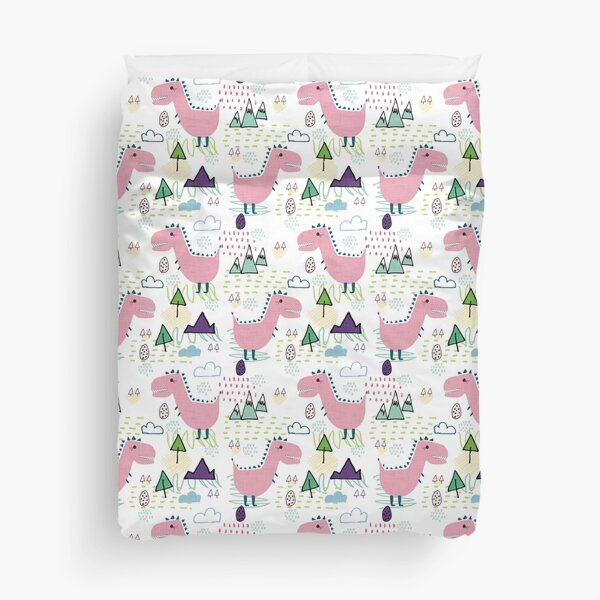 Cool T-rex Fun party pink #homedecor Duvet Cover