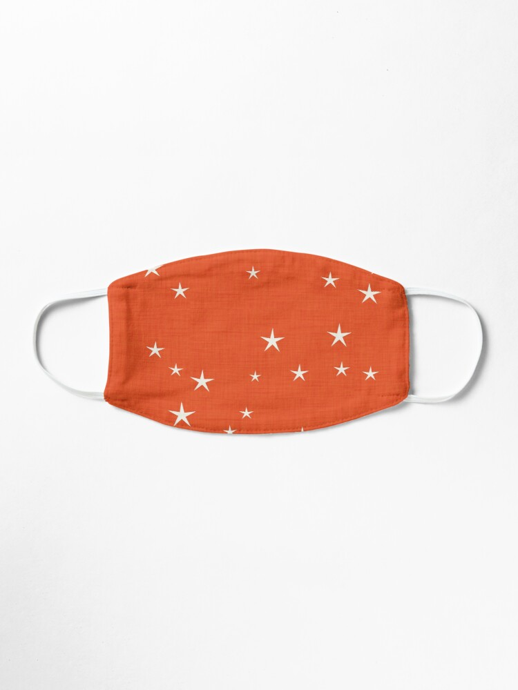 Alternate view of Orange star with fabric texture - narwhal collection Mask