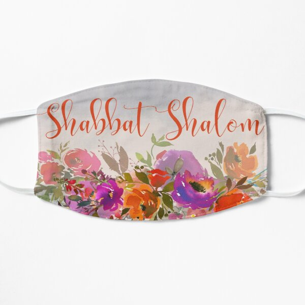 Colorful Watercolor Shabbat Shalom Jewish Art Flat Mask