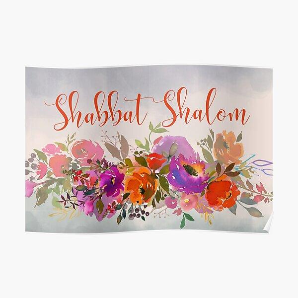 Colorful Watercolor Shabbat Shalom Jewish Art Poster
