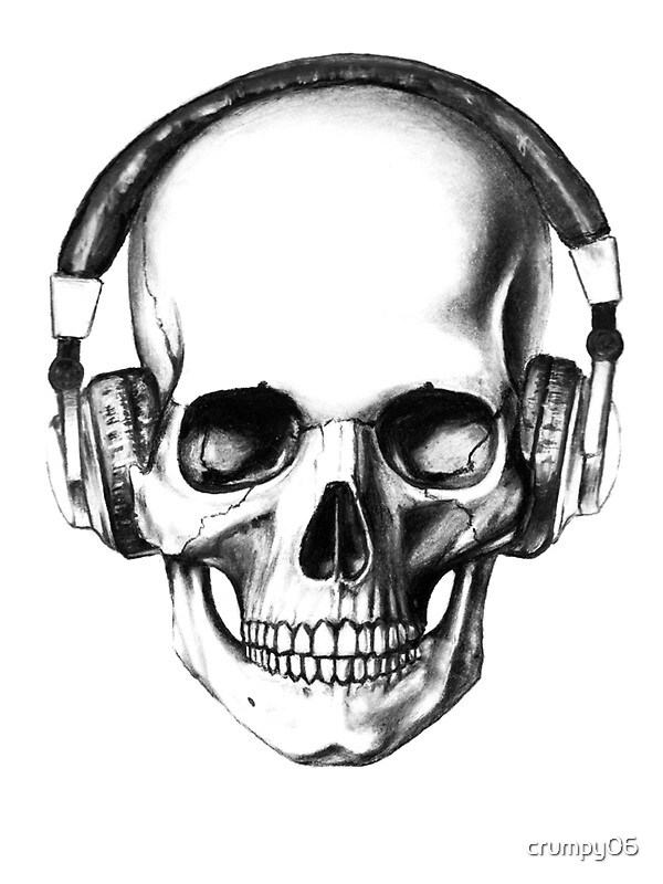 skull headphones stickers by crumpy06 redbubble. Black Bedroom Furniture Sets. Home Design Ideas