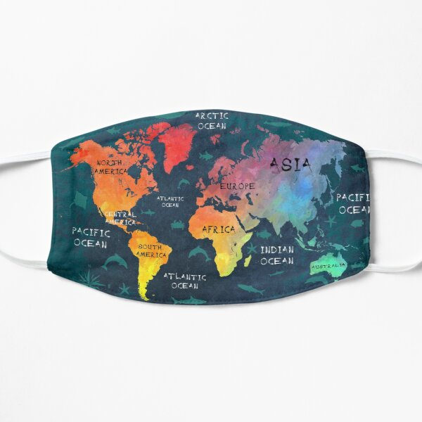 world map 49 color #map #worldmap Flat Mask