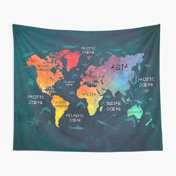 world map 49 color #map #worldmap Tapestry