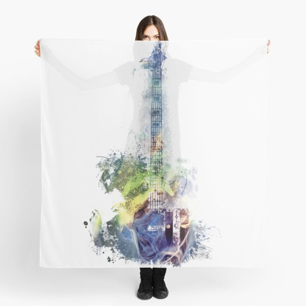 Electric guitar watercolor blue yellow Scarf
