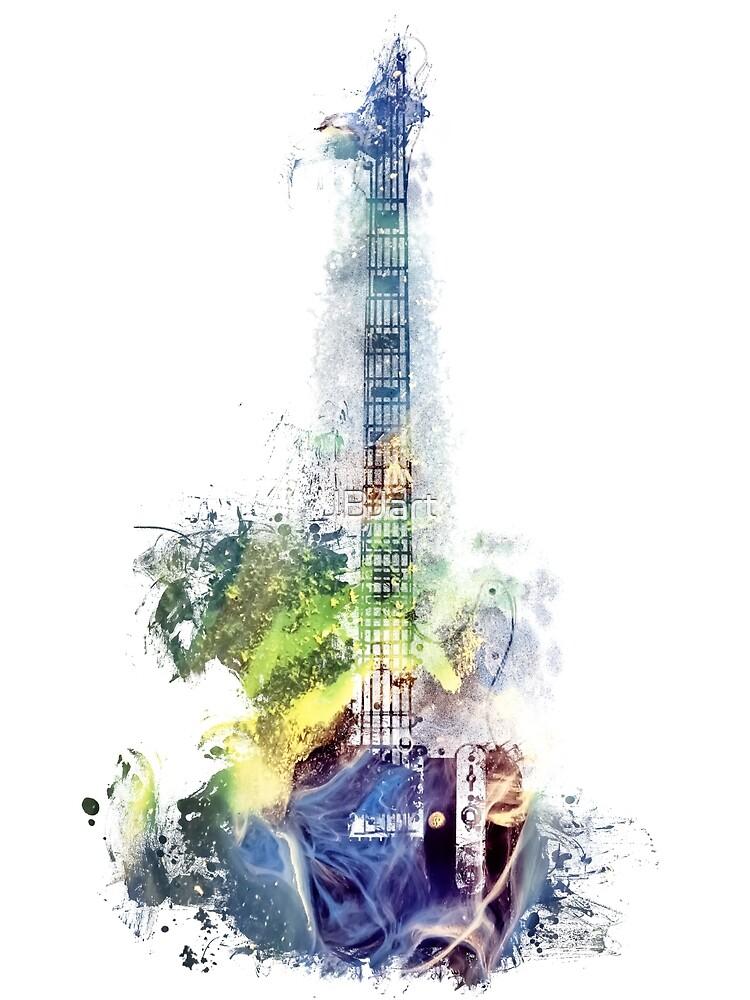 Electric guitar watercolor blue yellow by JBJart