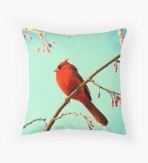 Cardinal & Cherry Blossoms Throw Pillow