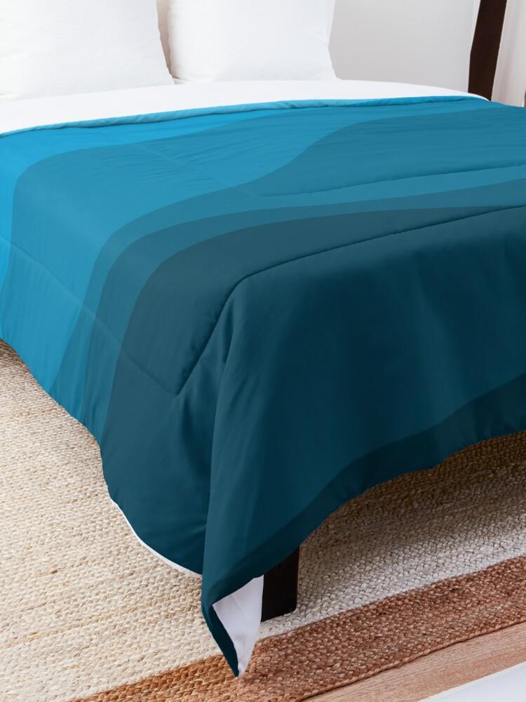 Alternate view of Blue wavy ocean Comforter
