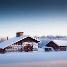 Barn in winter landscape by MikkoEevert