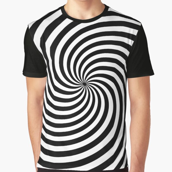 Black And White Op-Art Spiral Graphic T-Shirt