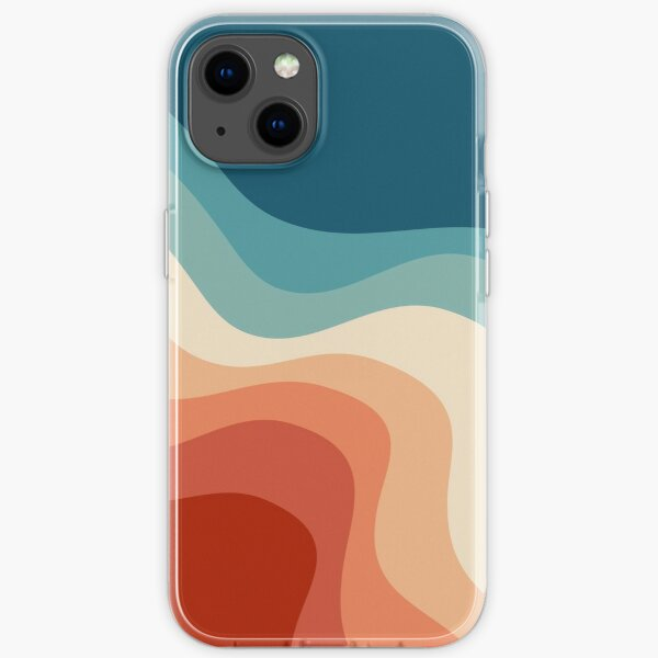 Retro style waves iPhone Soft Case