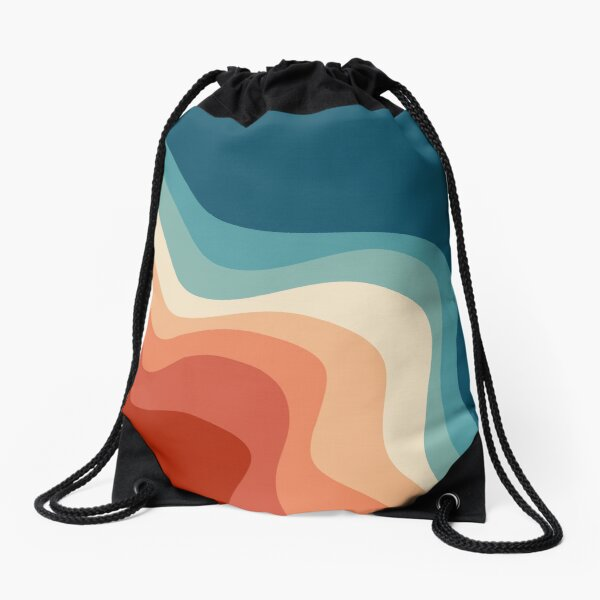 Retro style waves Drawstring Bag