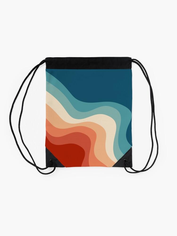 Alternate view of Retro style waves Drawstring Bag