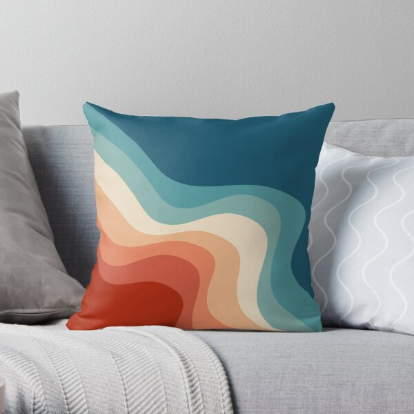 Retro style waves Throw Pillow