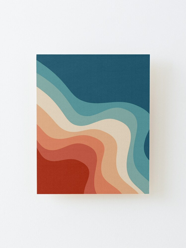 Alternate view of Retro style waves Mounted Print