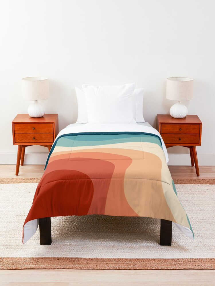 Alternate view of Retro style waves Comforter
