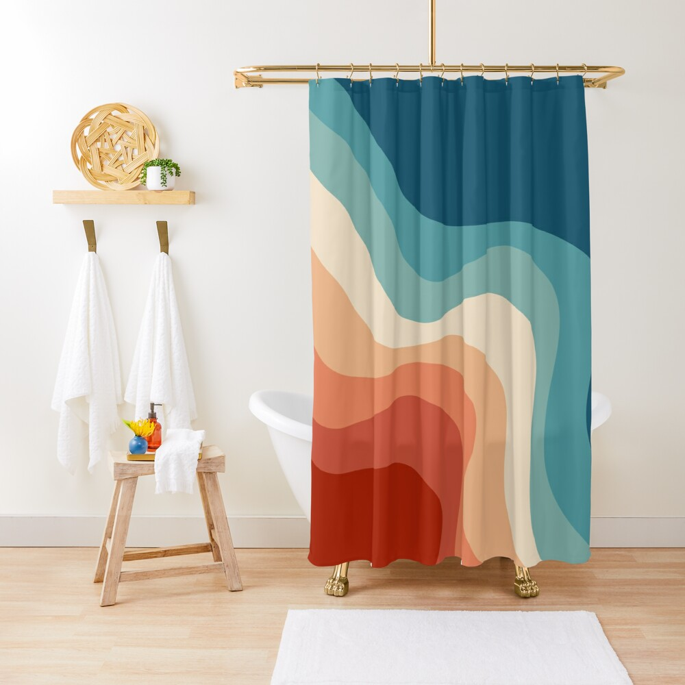 Retro style waves Shower Curtain