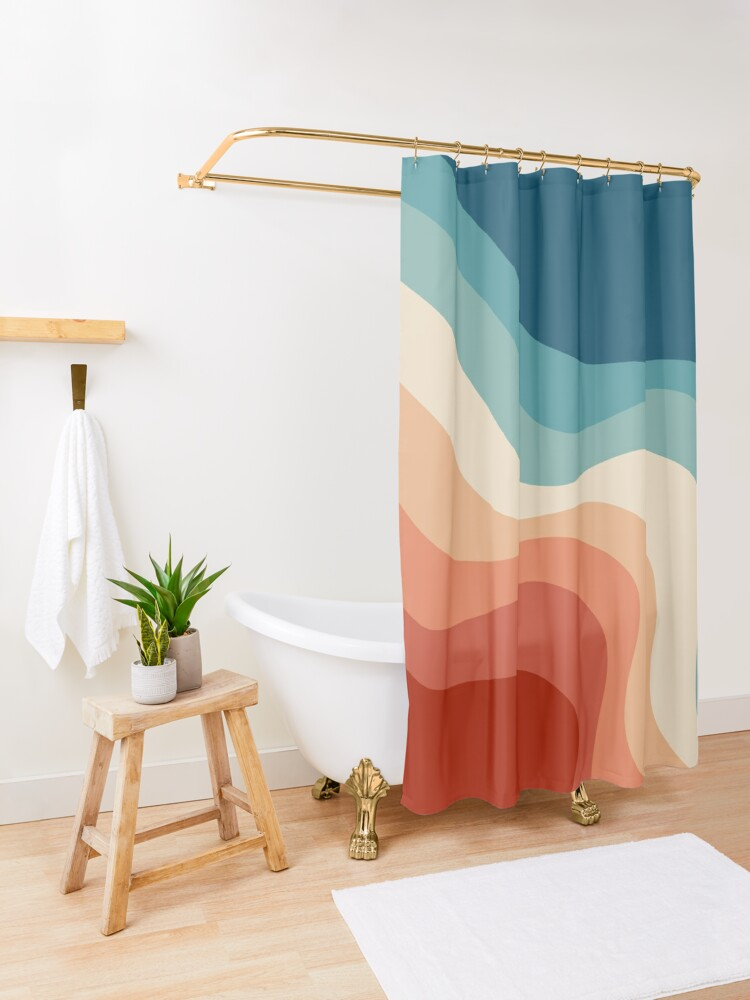 Alternate view of Retro style waves Shower Curtain