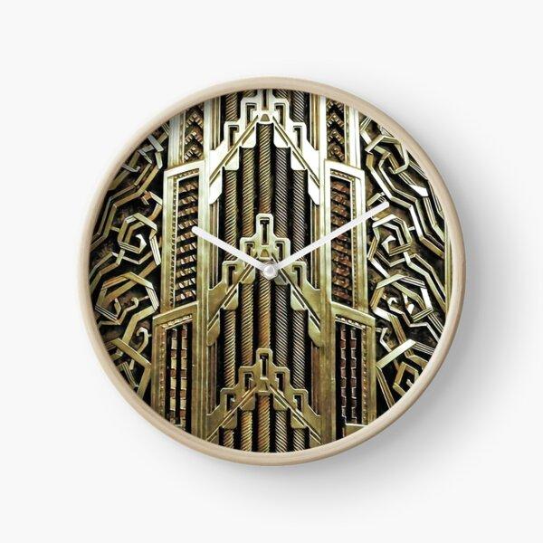 Design art nouveau métallique, vintage, élégant, chic, art nouveau, belle epoque, beau, or, métallique, moderne Horloge