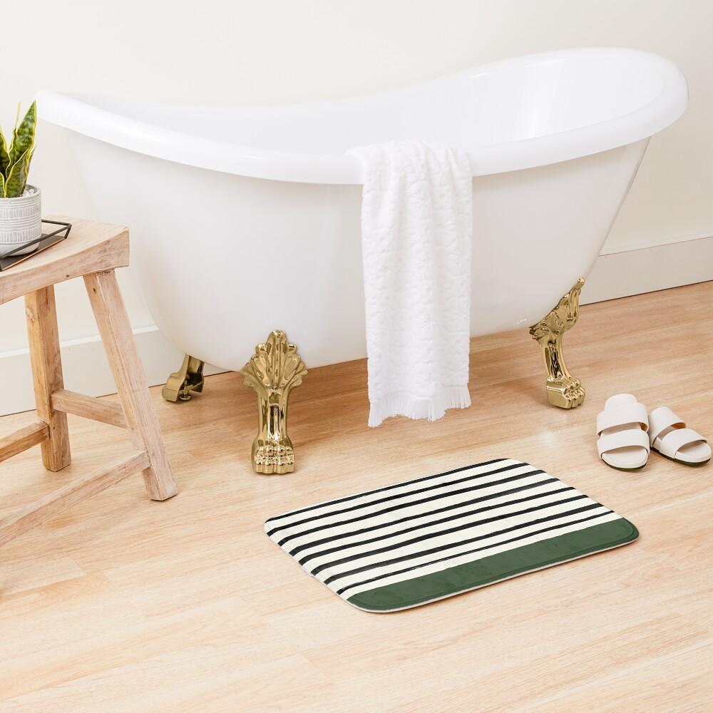 Forest Green x Stripes Bath Mat
